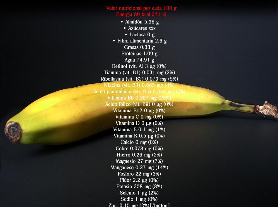 datos nutricionales del plátano